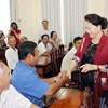 Chủ tịch Quốc hội Nguyễn Thị Kim Ngân tiếp xúc cử tri tại quận Ninh Kiều, huyện Cờ Đỏ, Thành phố Cần Thơ