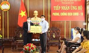 Ủy ban Mặt trận Tổ quốc tỉnh Quảng Nam tiếp nhận 1,2 tỷ đồng phòng, chống dịch Covid-19
