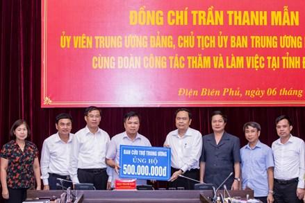Chủ tịch Trần Thanh Mẫn trao 500 triệu đồng hỗ trợ nhân dân tỉnh Điện Biên khắc phục hậu quả mưa lũ