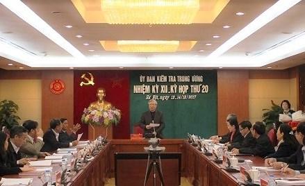 Thông cáo báo chí Kỳ họp 20 của Ủy ban Kiểm tra Trung ương