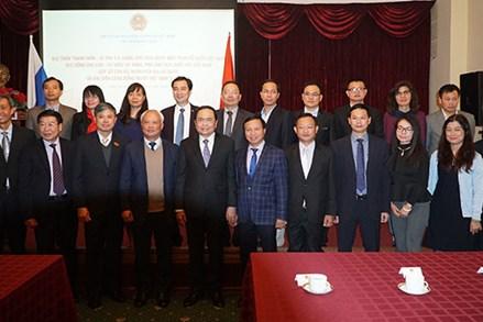 Các đồng chí Trần Thanh Mẫn, Uông Chu Lưu gặp mặt cộng đồng người Việt tại Liên bang Nga
