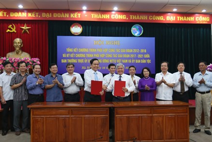 Ký kết Chương trình phối hợp công tác giữa UBTƯ MTTQ Việt Nam và Uỷ ban Dân tộc