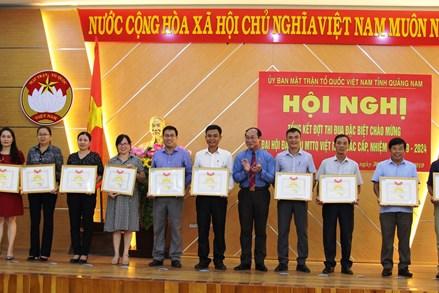Quảng Nam: Tổng kết thi đua chào mừng Đại hội MTTQ Việt Nam các cấp