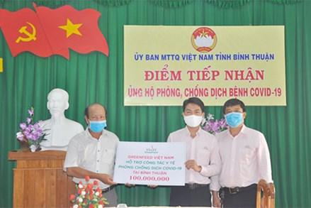 Mặt trận Bình Thuận tiếp nhận 100 triệu đồng ủng hộ chống dịch
