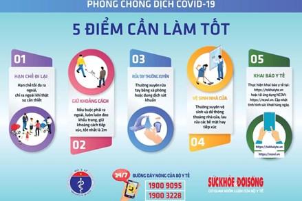 Bộ Y tế tiếp tục khuyến cáo người dân thực hiện 5 điểm cần làm tốt và 7 thói quen cần thay đổi trong mùa dịch.