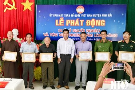 """Ninh Thuận: Uỷ ban MTTQ Việt Nam huyện Ninh Hải phát động quỹ """"Vì người nghèo"""" và tôn vinh những tấm lòng vàng"""
