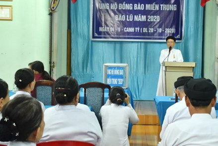 Ban Đại diện Hội thánh Cao Đài Tòa Thánh Tây Ninh:  Vận động tiền, quà ủng hộ đồng bào miền Trung bị bão lũ