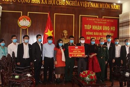 Mặt trận tỉnh Quảng Nam tiếp nhận 2 tỷ đồng ủng hộ khắc phục thiên tai