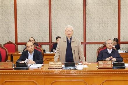 Tổng Bí thư, Chủ tịch nước Nguyễn Phú Trọng chủ trì cuộc họp tiếp thu ý kiến đóng góp vào dự thảo các Văn kiện Đại hội XIII