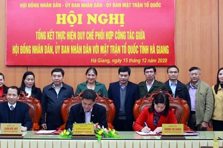 Tổng kết Quy chế phối hợp giữa HĐND, UBND với Mặt trận Tổ quốc tỉnh Hà Giang