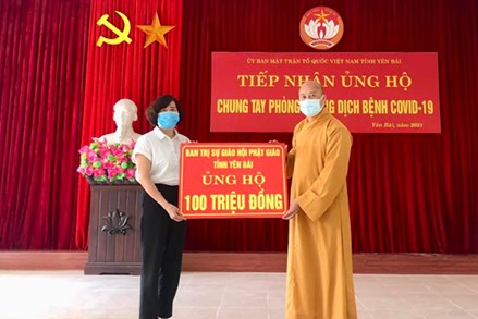 Ban Trị sự Giáo hội Phật giáo Việt Nam tỉnh Yên Bái ủng hộ 100 triệu đồng vào Quỹ Vắc - xin phòng, chống Covid-19