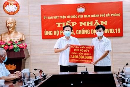 Ủy ban MTTQ tỉnh Khánh Hòa, TP Hải Phòng tiếp nhận ủng hộ Quỹ vắc xin phòng Covid-19