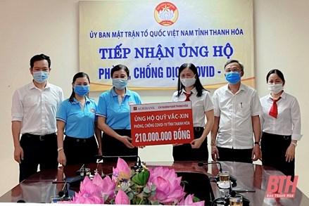 Ủy ban MTTQ tỉnh Thanh Hóa tiếp nhận 210 triệu đồng ủng hộ Quỹ Vắc - xin phòng chống COVID-19
