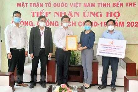Ủy ban MTTQ tỉnh Bến Tre tiếp nhận tiền, hàng hỗ trợ công tác phòng chống dịch Covid-19