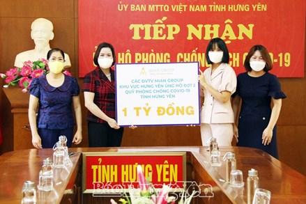 Ủy ban MTTQ Việt Nam tỉnh Hưng Yên tiếp nhận 1 tỷ đồng ủng hộ công tác phòng, chống dịch Covid-19