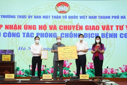 Ủy ban MTTQ thành phố Hà Nội tiếp nhận hơn 182 tỷ đồng và hiện vật ủng hộ phòng, chống dịch
