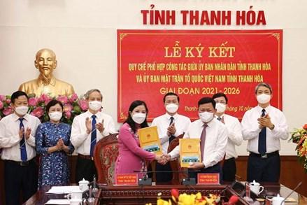 Ký kết Quy chế phối hợp công tác giữa UBND tỉnh và Ủy ban MTTQ tỉnh Thanh Hóa, giai đoạn 2021-2026