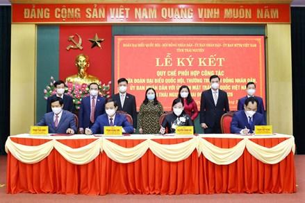 Thái Nguyên: Ký kết Quy chế phối hợp giữa Ủy ban Mặt trận Tổ quốc tỉnh và các cơ quan
