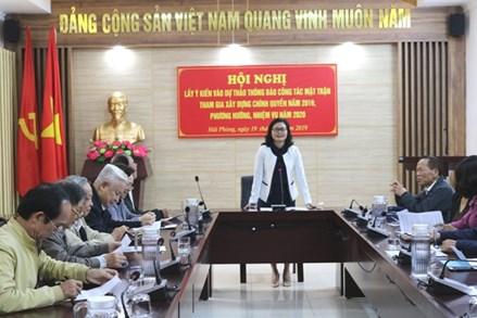 Hội nghị Lấy ý kiến về Dự thảo Thông báo công tác Mặt trận tham gia xây dựng chính quyền năm 2019