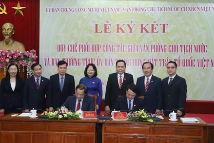 Lễ ký kết Quy chế phối hợp công tác giữa Văn phòng Chủ tịch nước và Ban Thường trực UBTƯ MTTQ Việt Nam