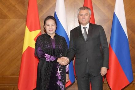Chủ tịch Quốc hội Nguyễn Thị Kim Ngân hội đàm với Chủ tịch Duma Quốc gia Liên bang Nga