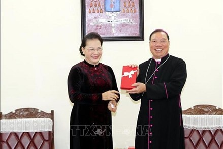 Chủ tịch Quốc hội chúc mừng Giáng sinh tại Tòa Tổng Giám mục Hà Nội