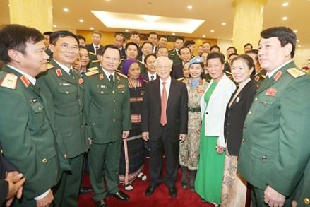Tổng Bí thư, Chủ tịch Nước Nguyễn Phú Trọng gặp mặt đại biểu điển hình tiên tiến trong xây dựng nền quốc phòng toàn dân vững mạnh