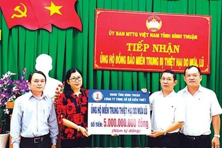 Bình Thuận: Tiếp nhận 18,5 tỷ đồng ủng hộ miền Trung khắc phục bão lũ