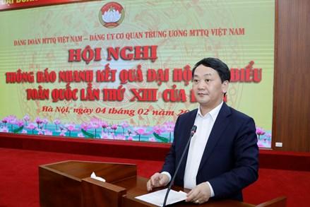 UBTƯ MTTQ Việt Nam thông báo kết quả Đại hội lần thứ XIII của Đảng