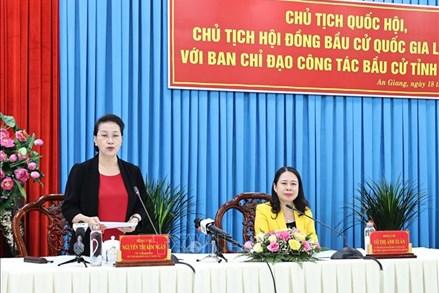 Chủ tịch Quốc hội làm việc với Ban Chỉ đạo công tác bầu cử tỉnh An Giang
