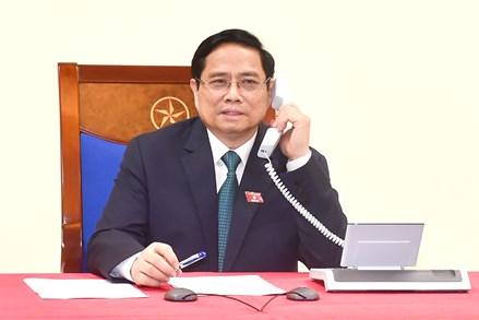 Thủ tướng Chính phủ Phạm Minh Chính điện đàm với Thủ tướng Lào