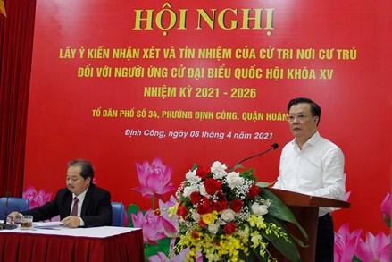 Cử tri tín nhiệm giới thiệu Bí thư Thành ủy Hà Nội Đinh Tiến Dũng ứng cử ĐBQH Khóa XV