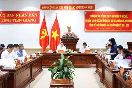 Phó Chủ tịch Thường trực Quốc hội Trần Thanh Mẫn kiểm tra công tác chuẩn bị bầu cử tại tỉnh Tiền Giang