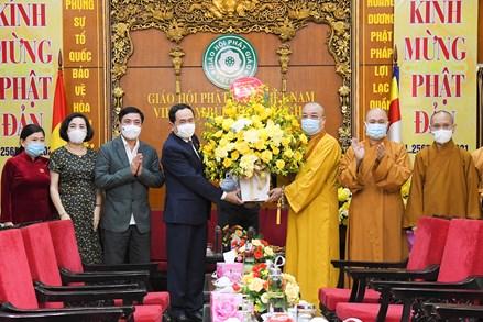 Phó Chủ tịch Thường trực Quốc hội Trần Thanh Mẫn chúc mừng Hội đồng Trị sự Trung ương Giáo hội Phật giáo Việt Nam