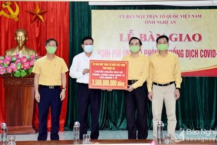 Nghệ An: Gần 15 tỷ đồng ủng hộ và đăng ký ủng hộ phòng chống dịch