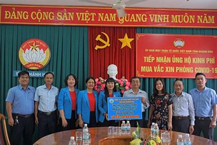 Mặt trận Khánh Hòa tiếp nhận ủng hộ mua vaccine 1,5 tỷ đồng