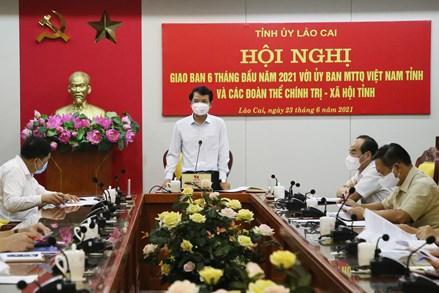Giao ban 6 tháng đầu năm 2021 với MTTQ Việt Nam và các tổ chức chính trị - xã hội tỉnh Lào Cai