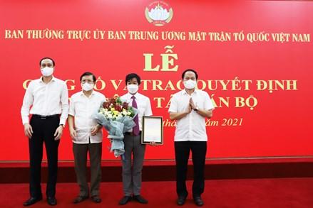 Ông Nguyễn Văn Hanh được bổ nhiệm làm Phó Chánh Văn phòng UBTƯ MTTQ Việt Nam