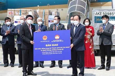 Chủ tịch Quốc hội trao vật tư, y tế và kinh phí ủng hộ trong chuyến công tác tại Châu Âu cho UBTƯ MTTQ Việt Nam và Bộ Y tế