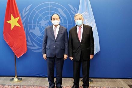 Chủ tịch Nước Nguyễn Xuân Phúc hội kiến với Chủ tịch và Tổng Thư ký Liên Hợp Quốc