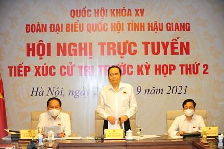 Đoàn Đại biểu Quốc hội tỉnh Hậu Giang tiếp xúc cử tri qua hình thức trực tuyến