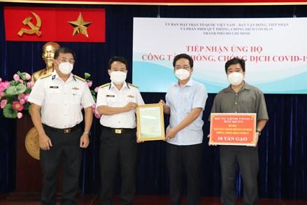 Thêm 10 tấn gạo từ Bộ Tư lệnh vùng 1 Hải Quân hỗ trợ nhân dân thành phố Hồ Chí Minh vượt qua đại dịch