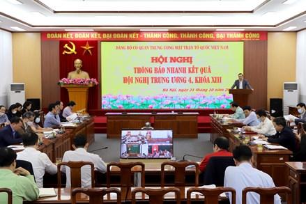UBTƯ MTTQ Việt Nam tổ chức Hội nghị thông báo nhanh kết quả Hội nghị Trung ương 4, khóa XIII