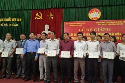 Hải Phòng: Cấp chứng chỉ bồi dưỡng nghiệp vụ cho 55 Chủ tịch Mặt trận cấp xã