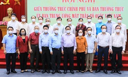 Thủ tướng Chính phủ chủ trì Hội nghị giữa Thường trực Chính phủ và Ban Thường trực UBTƯ MTTQ Việt Nam