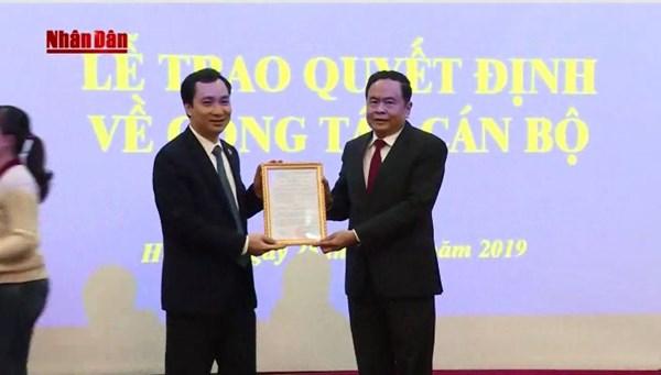Bổ nhiệm nhà báo Vũ Văn Tiến làm Trưởng ban Tuyên giáo UBTƯ MTTQ Việt Nam kiêm nhiệm Tổng Biên tập Tạp chí Mặt trận