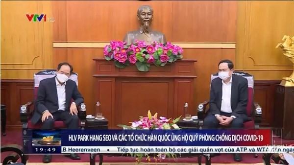 UBTƯ MTTQ Việt Nam tiếp nhận ủng hộ phòng, chống Covid-19 từ HLV Park Hang Seo và các tổ chức của Hàn Quốc