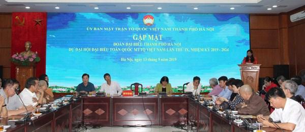 Mặt trận TP Hà Nội gặp mặt đoàn đại biểu dự Đại hội Mặt trận Tổ quốc Việt Nam lần thứ IX