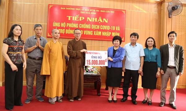 Giáo hội Phật giáo tỉnh Hòa Bình ủng hộ phòng, chống dịch Covid-19
