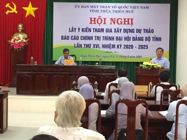 Mặt trận Thừa Thiên - Huế: Góp kiến Dự thảo Báo cáo chính trị trình Đại hội đảng bộ tỉnh